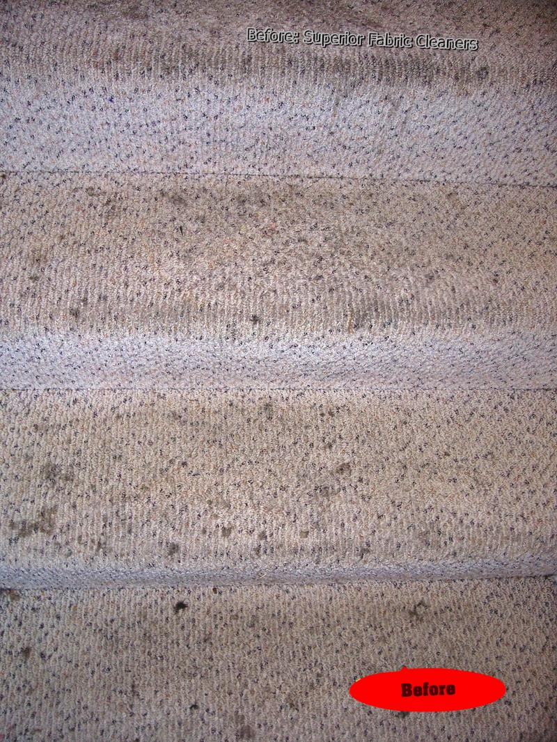 filthy oily berber stairway before deep carpet cleaning steam method