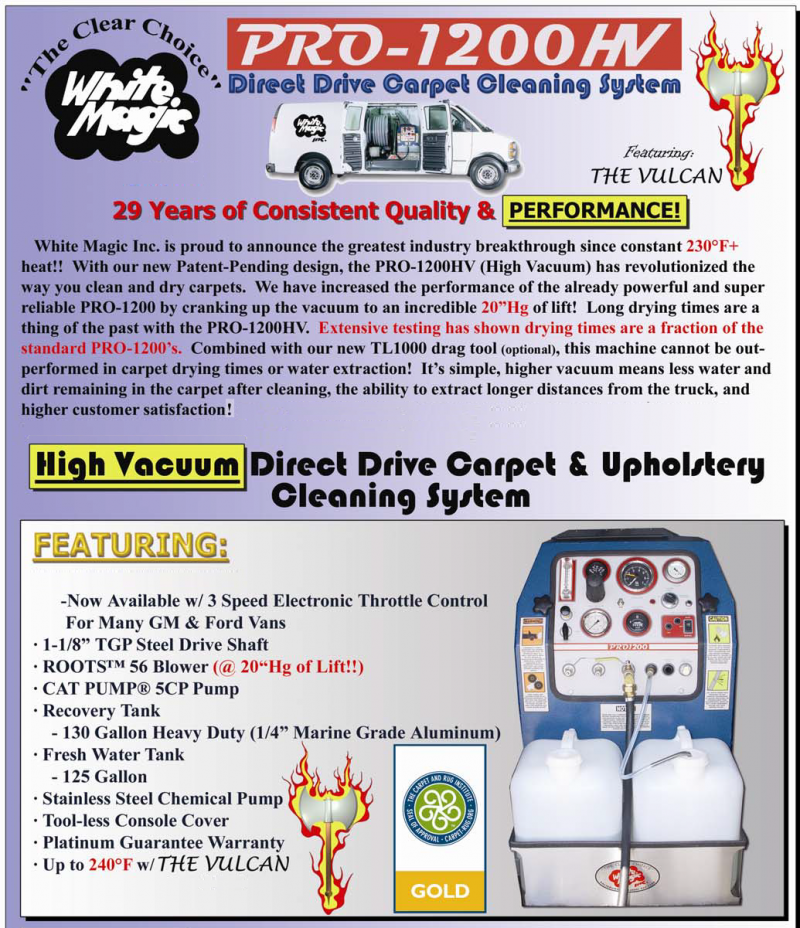 Best High Vacuum Direct Drive Carpet and Upholstery Cleaning System Pro 1200 HV